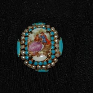 Vintage Limoges Pin with Turquoise Made in France